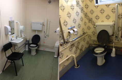 The toilets in Halls Two (left) and Four (right).