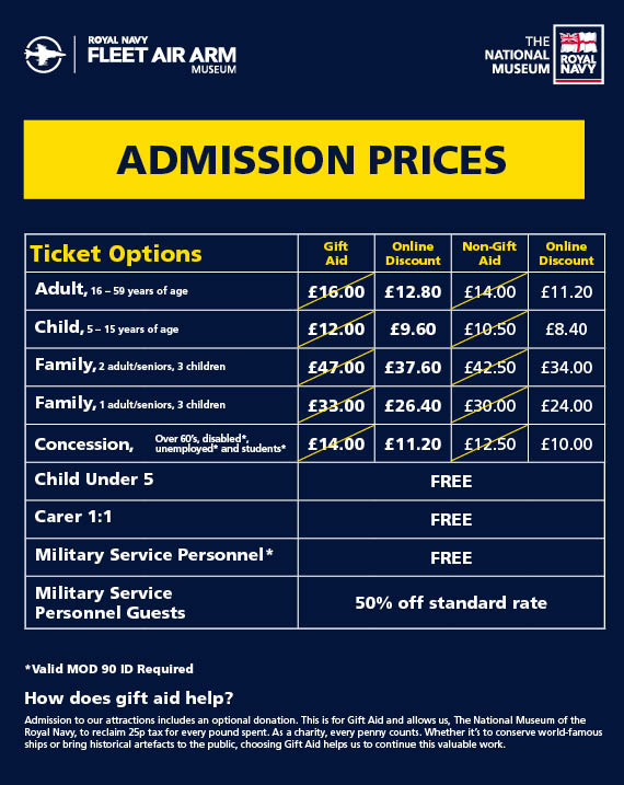 Fleet Air Arm Museum Price List including online discount